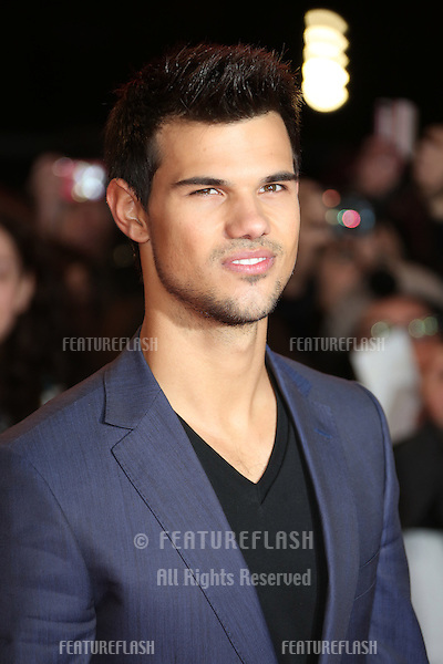 "Taylor Lautner arriving for the ""The Twilight Saga: Breaking Dawn Part 2"" premiere at the Odeon Leicester Square, London. 14/11/2012 Picture by: Henry Harris / Featureflash"