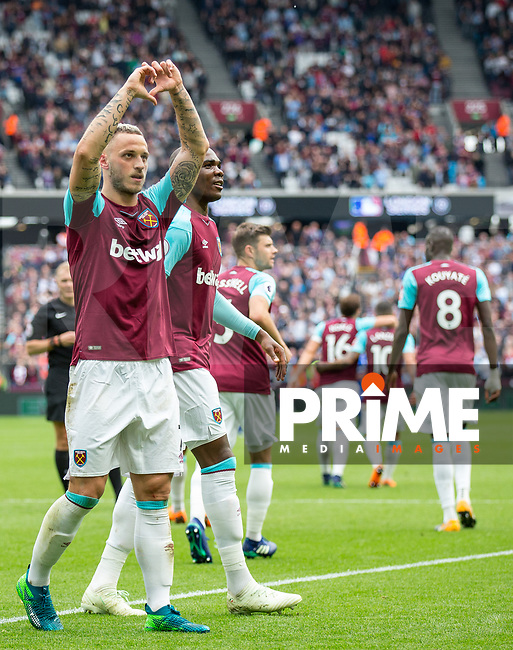 Marko Arkautovic of West Ham celebrates his goal during the Premier League match between West Ham United and Everton at the Olympic Park, London, England on 13 May 2018. Photo by Andy Rowland / PRiME Media Images.