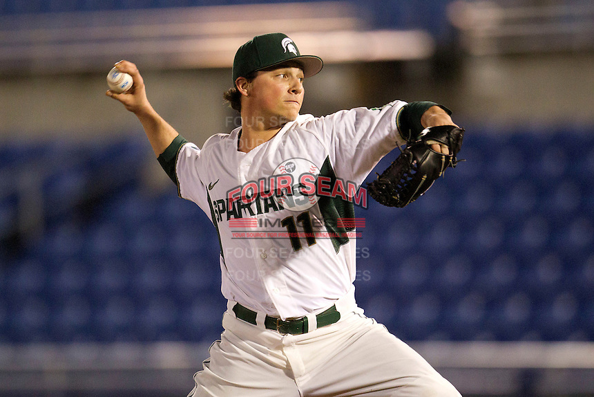 Michigan State Spartans pitcher Tony Wieber #11 during a game against the St. John's Red Storm at the Big Ten/Big East Challenge at Florida Auto Exchange Stadium on February 17, 2012 in Dunedin, Florida.  (Mike Janes/Four Seam Images)