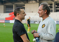 20181009 – BIEL BIENNE , SWITZERLAND : Belgian head coach Ives Serneels (left) pictured with Belgian assistant coach Kris Van Der Haegen (r) during the female soccer game between Switzerland and the Belgian Red Flames , the second leg in the semi finals play offs for qualification for the World Championship in France 2019 ; the first leg ended in equality 2-2 ;  Tuesday 9 th october 2018 at The Tissot Arena  in BIEL BIENNE , Switzerland . PHOTO SPORTPIX.BE | DAVID CATRY