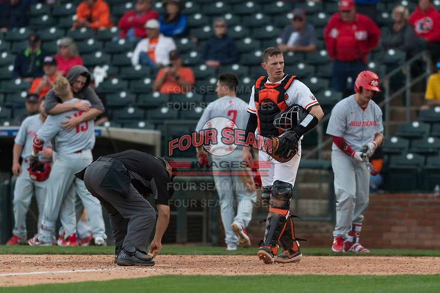 Oregon State Beavers catcher Adley Rutschman (35) looks towards the bench during a game against the New Mexico Lobos on February 15, 2019 at Surprise Stadium in Surprise, Arizona. Oregon State defeated New Mexico 6-5. (Zachary Lucy/Four Seam Images via AP)