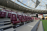 Home Bench  during West Ham United vs Burnley, Premier League Football at The London Stadium on 3rd November 2018