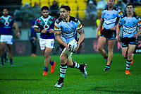 Shaun Johnson in action during the National Rugby League match between the NZ Warriors and Cronulla Sharks at Westpac Stadium in Wellington, New Zealand on Friday, 19 July 2019. Photo: Dave Lintott / lintottphoto.co.nz