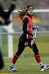 GER - Mainz, Germany, March 20: During the 1. Bundesliga Damen lacrosse match between Mainz Musketeers (white) and SC Frankfurt 1880 (red) on March 20, 2016 at Sportgelaende Dalheimer Weg in Mainz, Germany. Final score 7-12 (HT 3-5). (Photo by Dirk Markgraf / www.265-images.com) *** Local caption *** Rebecca Duecker #12 of SC Frankfurt 1880