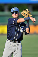 Second baseman Forrest Wall (7) of the Asheville Tourists warms up before a game against the Greenville Drive on Thursday, August 13, 2015, at Fluor Field at the West End in Greenville, South Carolina. Asheville won, 8-1. (Tom Priddy/Four Seam Images)