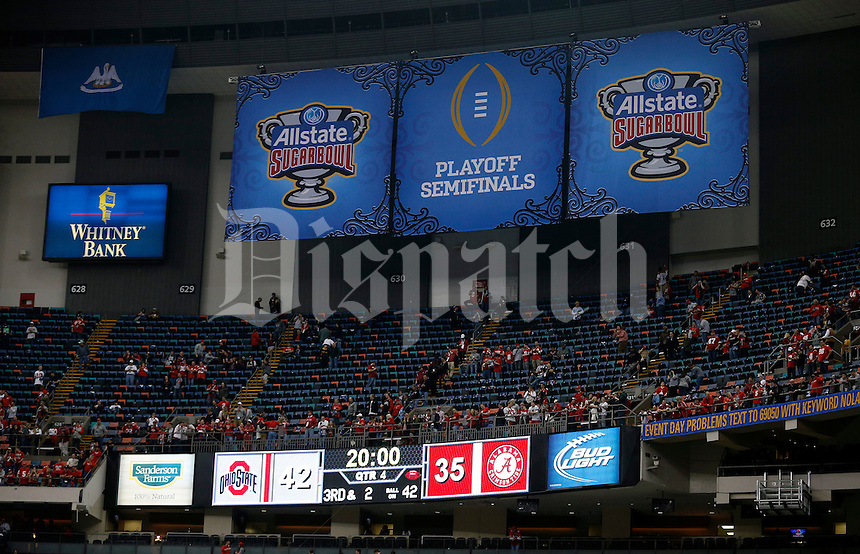 Ohio State Buckeyes beat Alabama Crimson Tide 42-35 in the Allstate Sugar Bowl college football Playoff Semifinal game at the Mercedes-Benz Superdome in New Orleans, Louisiana on January 1, 2015.  (Dispatch photo by Kyle Robertson)