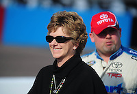 Nov. 13, 2009; Avondale, AZ, USA; Janet Paczkowski the girlfriend of NASCAR Camping World Truck Series driver Todd Bodine during qualifying prior to the Lucas Oil 150 at Phoenix International Raceway. Mandatory Credit: Mark J. Rebilas-