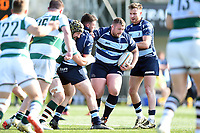 Ben Cooper of Bedford Blues takes on the Ealing Trailfinders defence. Greene King IPA Championship match, between Ealing Trailfinders and Bedford Blues on April 20, 2019 at the Trailfinders Sports Ground in London, England. Photo by: Patrick Khachfe / Onside Images