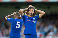 Ethan Ampadu of Chelsea shows his frustration after going close to scoring during the U23 Premier League 2 match between Chelsea and Everton at the EBB Stadium, Aldershot, England on 25 August 2017. Photo by Andy Rowland.