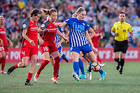 Boston, MA - Friday May 19, 2017: Emily Menges, Emily Sonnett and Natasha Dowie during a regular season National Women's Soccer League (NWSL) match between the Boston Breakers and the Portland Thorns FC at Jordan Field.