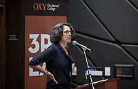"Amy Anderson, Chief Housing Officer, the Mayor's Office of City Homelessness Initiatives<br /> Occidental College's thought-provoking Third L.A. series presents, ""L.A. House and Home: New Paths in Housing Policy and Residential Architecture"" on Monday, December 2, 2019 in Choi Auditorium and moderated by Christopher Hawthorne, Oxy professor of practice and Chief Design Officer, Design Office, the Mayor's Office of Economic Development.<br /> This 3rd L.A. event brought together policymakers and leading architects as they discussed and summarized L.A.'s homelessness, housing affordability and single-family zoning, which are squarely at the top of the policy agenda across California. Furthermore, Los Angeles is engaged in a growing national conversation around the relationship between good design and good housing and the legacies of redlining and exclusionary zoning.<br /> (Photo by Marc Campos, Occidental College Photographer)"