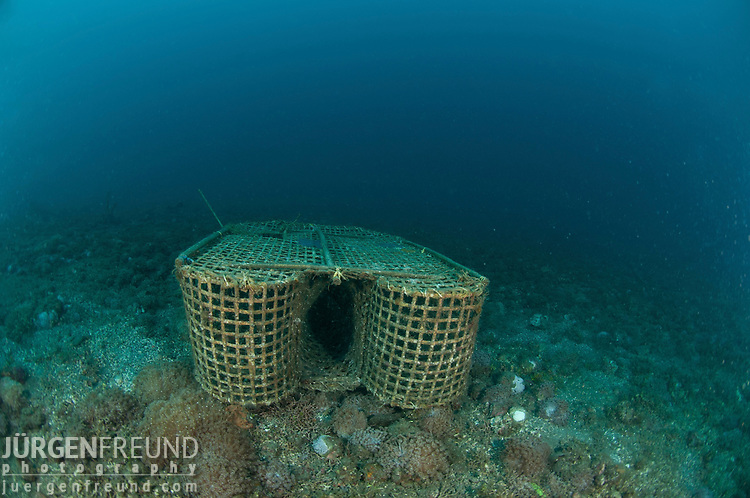 "A fish trap locally called ""bubu"" underwater.."