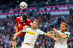 06.10.2018, Allianz Arena, Muenchen, GER, 1.FBL,  FC Bayern Muenchen vs. Borussia Moenchengladbach, DFL regulations prohibit any use of photographs as image sequences and/or quasi-video, im Bild Robert Lewandowski (FCB #9) im kampf mit Matthias Ginter (Moenchengladbach #28) und Michael Lang (Moenchengladbach #3) <br /> <br />  Foto &copy; nordphoto / Straubmeier