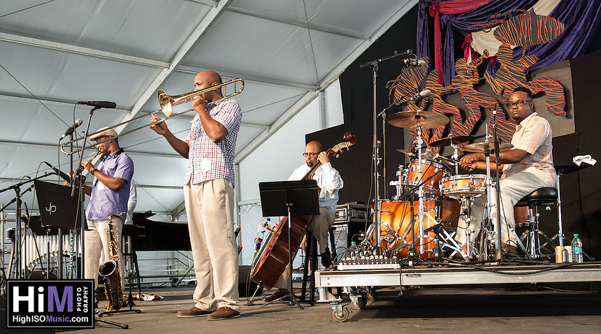 Calvin Johnson performs at the 2014 Jazz and Heritage Festival in New Orleans, LA.
