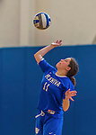 26 October 2014: Yeshiva University Maccabee Outside Hitter Gabi Katz, a Senior from New Rochelle, NY, warms up prior to a game against the Maritime College Privateers, at the College of Mount Saint Vincent, in Riverdale, NY. The Privateers defeated the Maccabees 3-0 in the NCAA Division III Women's Volleyball Skyline matchup. Mandatory Credit: Ed Wolfstein Photo *** RAW (NEF) Image File Available ***
