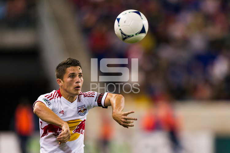 Connor Lade (16) of the New York Red Bulls on a throw in. The New York Red Bulls and Sporting Kansas City played to a 0-0 tie during a Major League Soccer (MLS) match at Red Bull Arena in Harrison, NJ, on October 20, 2012.