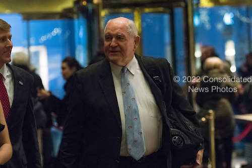 "Former Governor George ""Sonny"" Perdue (Republican of Georgia) arrives for a meeting with United States President-elect Donald Trump at Trump Tower in New York, New York, USA on November 30, 2016. <br /> Credit: Albin Lohr-Jones / Pool via CNP"