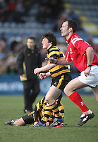 R.B.A.I. kicker Patrick Irwin and referee Colin Stanley watches as his kick is successful during the Northern Bank Schools Cup Final at Ravenhill. Result Wallace 0pts R.B.A.I. 15pts.