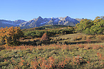 Sneffels Range with autumn colors near Telluride, Colorado, USA. John offers autumn photo tours throughout Colorado.