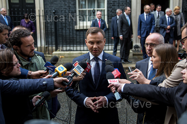 Andrzej Duda (President of the Republic of Poland).<br /> <br /> London, 15/09/2015. Today, the President of the Republic of Poland, Andrzej Duda, visited 10 Downing Street for an hour meeting with the British Prime Minister David Cameron.