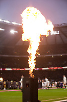 Fire at the start of the match<br /> <br /> Photographer Bob Bradford/CameraSport<br /> <br /> NatWest Six Nations Championship - England v Wales - Saturday 10th February 2018 - Twickenham Stadium - London<br /> <br /> World Copyright &copy; 2018 CameraSport. All rights reserved. 43 Linden Ave. Countesthorpe. Leicester. England. LE8 5PG - Tel: +44 (0) 116 277 4147 - admin@camerasport.com - www.camerasport.com
