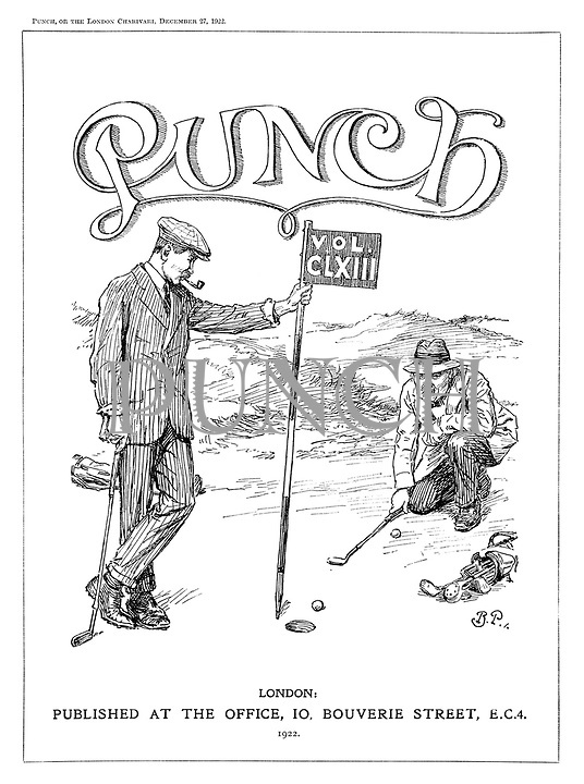 (Frontispiece to Punch, or the London Charivari, Vol. CLXIII - Andrew Bonar Law blocks David Lloyd George on the golf course)