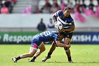 Robbie Fruean of Bath Rugby is tackled in possession. European Rugby Challenge Cup Semi Final, between Stade Francais and Bath Rugby on April 23, 2017 at the Stade Jean-Bouin in Paris, France. Photo by: Patrick Khachfe / Onside Images