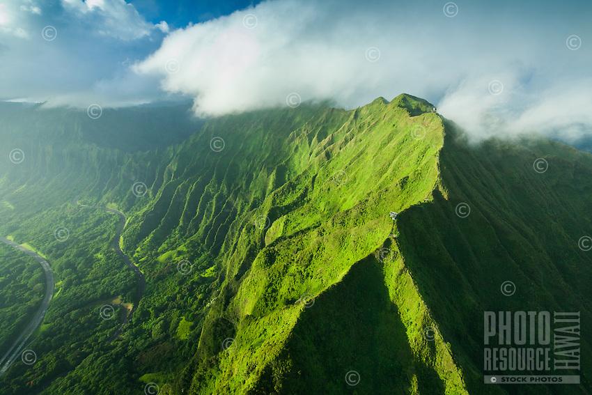 Windward O'ahu, including the steep hiking trail called Stairway to Heaven (or Ha'iku Stairs or Ha'iku Ladder).
