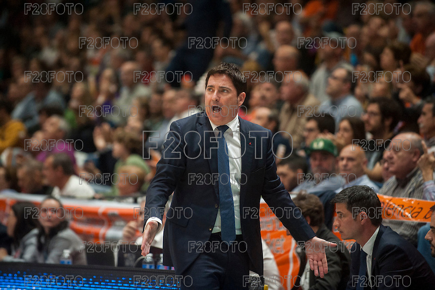 VALENCIA, SPAIN - MARCH 8: Xavier Pascual during ENDESA LEAGUE match between Valencia Basket Club and Barcelona at Fonteta Stadium on March, 2016 in Valencia, Spain