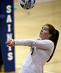 Marymount's Cassidie Watson passes in a college volleyball game against Mary Washington, in Arlington, Vir., on Saturday, Nov. 1, 2014.<br /> Photo by Cathleen Allison