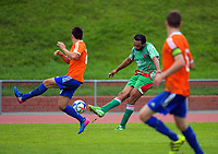 Paul Ifill crosses during the Central League football match between Wellington United and Wairarapa United at Newtown Park in Wellington, New Zealand on Saturday, 29 April 2017. Photo: Dave Lintott / lintottphoto.co.nz