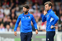 Lincoln City manager Danny Cowley, left, and Lincoln City's assistant manager Nicky Cowley<br /> <br /> Photographer Chris Vaughan/CameraSport<br /> <br /> The EFL Sky Bet League Two - Lincoln City v Morecambe - Saturday August 12th 2017 - Sincil Bank - Lincoln<br /> <br /> World Copyright &copy; 2017 CameraSport. All rights reserved. 43 Linden Ave. Countesthorpe. Leicester. England. LE8 5PG - Tel: +44 (0) 116 277 4147 - admin@camerasport.com - www.camerasport.com