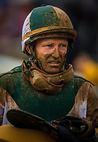 LEXINGTON, KY - OCTOBER 08: A muddy James Graham after the Juddmonte Spinster Stakes at Keeneland Race Course on October 08, 2017 in Lexington, Kentucky. (Photo by Alex Evers/Eclipse Sportswire/Getty Images)