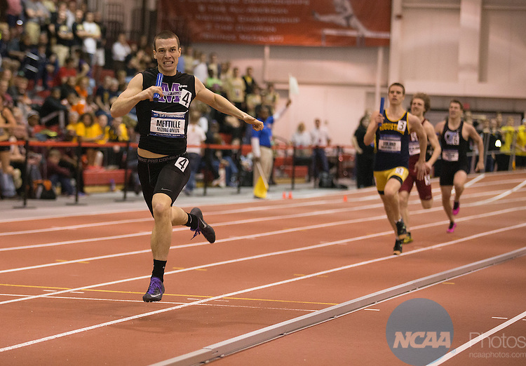 15 March 2014-Tyler Mettille runs the final leg of the men's 4x400 meter relay for Mount Union during the Div III Indoor Track and Field Championships at the Bob Devaney Sports Center in Lincoln, Nebraska. The men's team from Mount Union won the event with a time of 3:13.474. Scott Bruhn/NCAA Photos