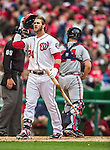 4 April 2014: Washington Nationals outfielder Bryce Harper shows emotion as he is called out on strikes to end the 8th inning with two runners on base during play against the Atlanta Braves and the Nationals Home Opening Game at Nationals Park in Washington, DC. The Braves edged out the Nationals 2-1 in their first meeting of the 2014 MLB season. Mandatory Credit: Ed Wolfstein Photo *** RAW (NEF) Image File Available ***