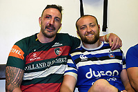 Will Spencer of Leicester Tigers and Tom Dunn of Bath Rugby pose for a photo in the changing rooms after the match. Gallagher Premiership match, between Leicester Tigers and Bath Rugby on May 18, 2019 at Welford Road in Leicester, England. Photo by: Patrick Khachfe / Onside Images