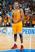 Herbalife Gran Canaria's player Eulis Baez with the championship award during the final of Supercopa of Liga Endesa Madrid. September 24, Spain. 2016. (ALTERPHOTOS/BorjaB.Hojas) NORTEPHOTO.COM