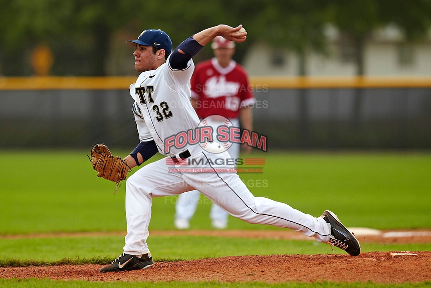 Pittsburgh Panthers pitcher Alex Caravella #32 delivers a pitch during a game against the Indiana Hoosiers at the Big Ten/Big East Challenge at the Walter Fuller Complex on February 19, 2012 in St. Petersburg, Florida.  (Mike Janes/Four Seam Images)