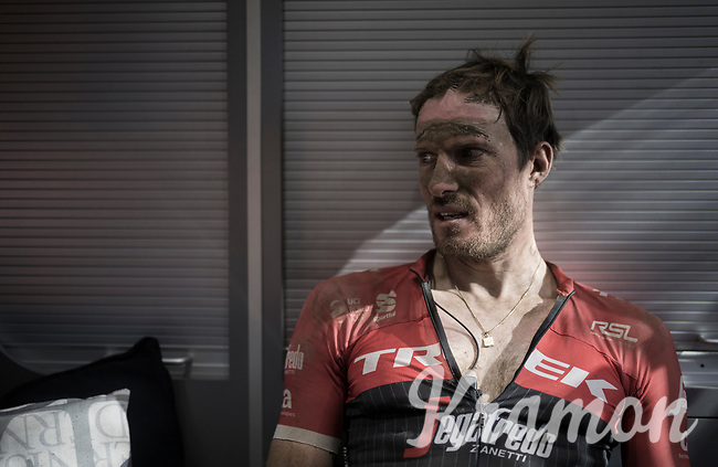 Gregory Rast (SUI/Trek-Segafredo) back in the teambus after the race<br /> <br /> 115th Paris-Roubaix 2017 (1.UWT)<br /> One Day Race: Compi&egrave;gne &rsaquo; Roubaix (257km)