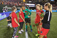 Portland, OR - Saturday August 19, 2017: Adrianna Franch with Girls of the Game during a regular season National Women's Soccer League (NWSL) match between the Portland Thorns FC and the Houston Dash at Providence Park.