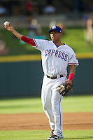 Round Rock Express second baseman Yangervis Solarte (26) makes a throw to first base against the Oklahoma City RedHawks during the Pacific Coast League baseball game on August 25, 2013 at the Dell Diamond in Round Rock, Texas. Round Rock defeated Oklahoma City 9-2. (Andrew Woolley/Four Seam Images)