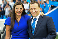Linda Bloom with Briighton chairman Tony Bloom  during the EPL - Premier League match between Brighton and Hove Albion and Manchester City at the American Express Community Stadium, Brighton and Hove, England on 12 August 2017. Photo by Edward Thomas / PRiME Media Images.