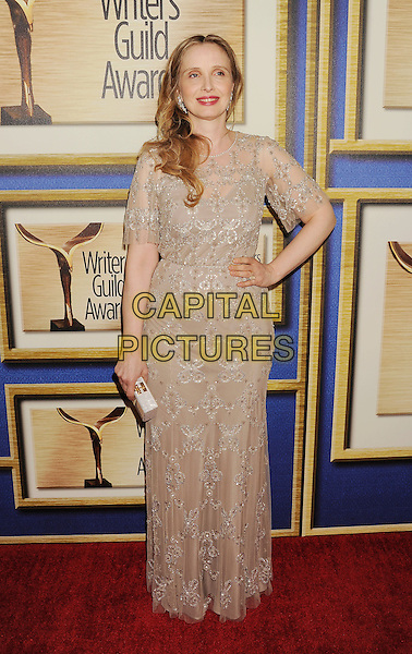 LOS ANGELES, CA- FEBRUARY 01: Actress Julie Delpy arrives at the 2014 Writers Guild Awards L.A. Ceremony at JW Marriott Los Angeles at L.A. LIVE on February 1, 2014 in Los Angeles, California.<br /> CAP/ROT/TM<br /> &copy;Tony Michaels/Roth Stock/Capital Pictures