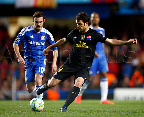 18.04.2012. Stamford Bridge, Chelsea, London. .Cesc Fabregas of  FC Barcelona.during the Champions League Semi Final 1st  leg match between Chelsea and Barcelona  at Stamford Bridge, Stadium on April 18, 2012 in London, England.............