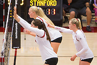 STANFORD, CA - August 28, 2016: Audriana Fitzmorris,Kathryn Plummer, Hayley Hodson at Maples Pavilion. The Stanford Cardinal defeated the University of Minnesota 3-1.