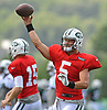Christian Hackenberg #5, quarterback, throws a pass during New York Jets Training Camp at Atlantic Health Jets Training Center in Florham Park, NJ on Tuesday, Aug. 1, 2017.
