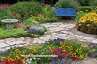 63821-21611 Blue bench, stone path & bird bath in flower garden.  Black-eyed Susans (Rudbeckia hirta)  Red Dragon Wing Begonias (Begonia x hybrida) Homestead Purple Verbena, Red Verbena, New Gold Lantana, Marion Co., IL