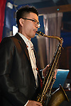 Boplicity, Tainan -- Jeffry Lin, saxophonist of Smalls Jazz Combo, performing on stage.