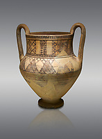 Phrygian terra cotta amphora decorated with geometric designs from Gordion. Phrygian Collection, 8th century BC - Museum of Anatolian Civilisations Ankara. Turkey.