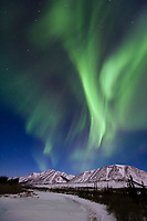 Northern lights over the south fork of the Koyukuk river, Brooks range, Arctic, Alaska